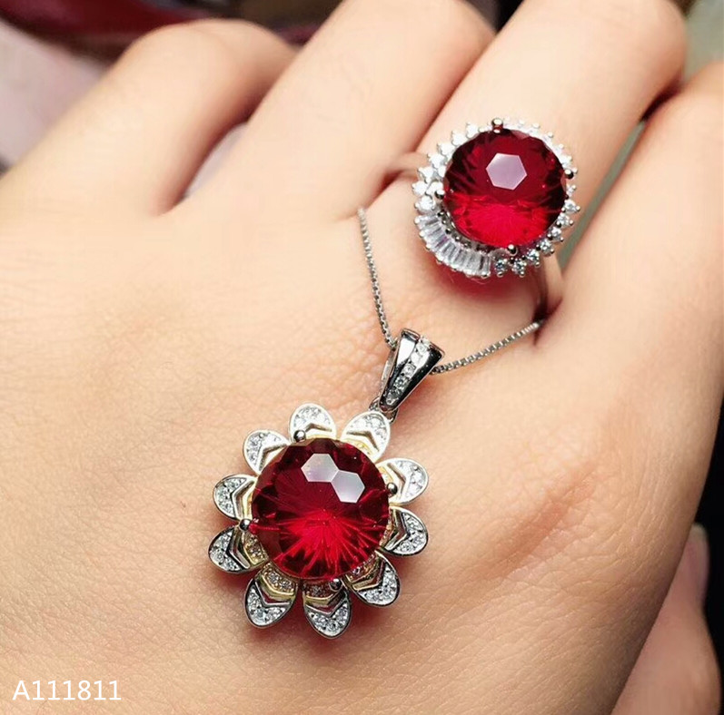 KJJEAXCMY boutique jewels 925 pure silver inlaid natural Red Topaz lady Pendant + ring set support testKJJEAXCMY boutique jewels 925 pure silver inlaid natural Red Topaz lady Pendant + ring set support test