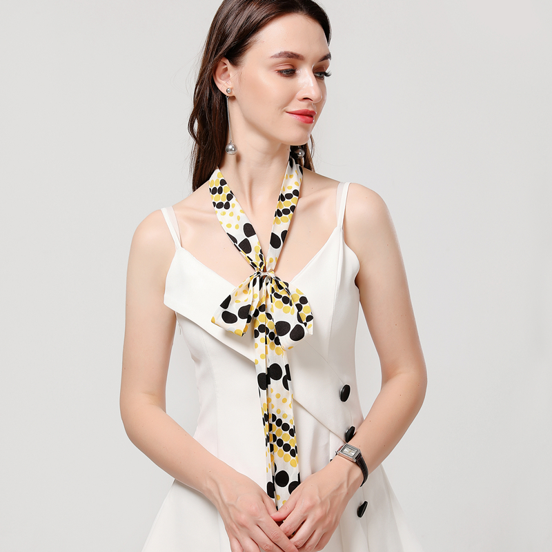 Spring Fashion Small Thin Silk Ribbon Hair Band Women Print Wrist Neck Ornament
