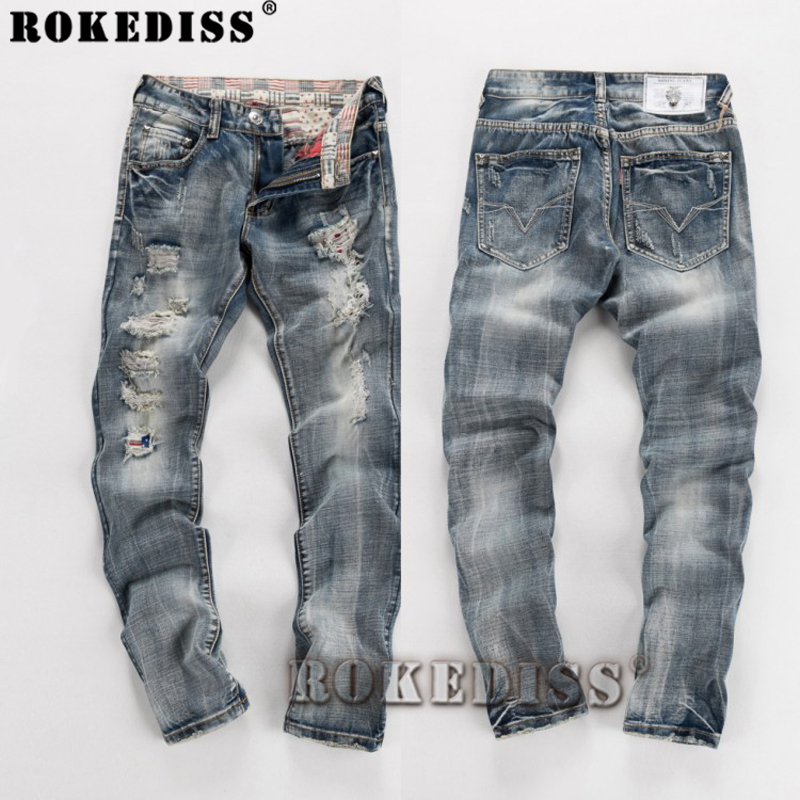 denim overalls men 2017 spring autumn New locomotive Tide male Hole Cotton trousers Large size personality Straight pants C099