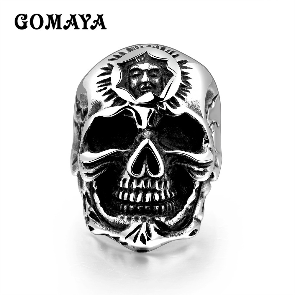 GOMAYA Stainless Steel Punk Bike Halloween Jewelry Hollow Skull Skeleton Rings for Men Gothic Titanium Anillos