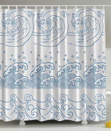 Abstract Shower Curtain Nautical Japanese Ocean Seaside Great Wave Off Stormy Tropical Kanagawa Coastal Print Bath Decor