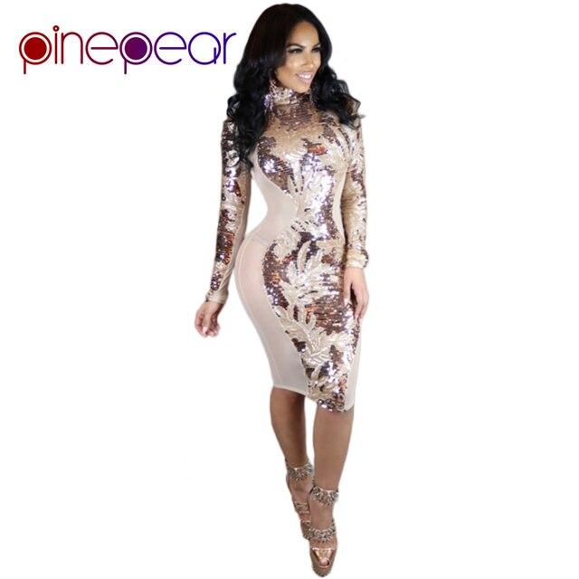 89b609ba94 PinePear 2019 invierno Nightclub oro lentejuelas vestido de malla para  mujer moda manga larga cuello alto