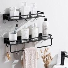 Матовая черная настенная полка, органайзер для хранения кухонной посуды, для кухни, для ванной комнаты, кастрюля с 6 крючками, аксессуар