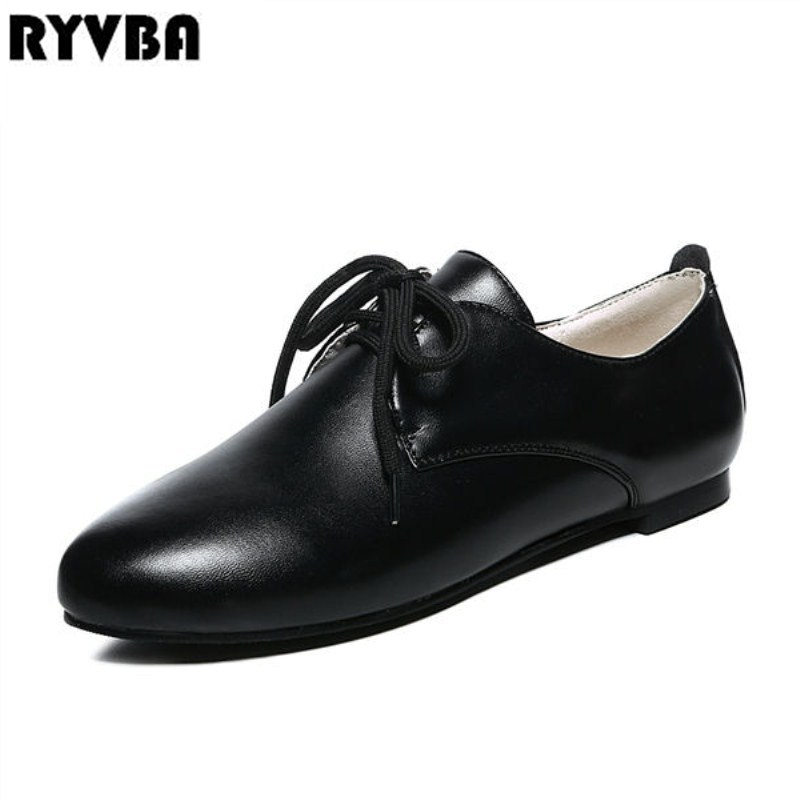 RYVBA Women pointed toe flats 2018 spring summer lace up flat shoes for woman women's work shoes ladies casual black shoes drfargo spring summer ladies shoes ballet flats women flat shoes woman ballerinas pointed toe sapato womens waved edge loafer