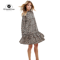 Vintage Dress 2017 Long Sleeve Runway Brand Dresses Leopard Print Dress Women