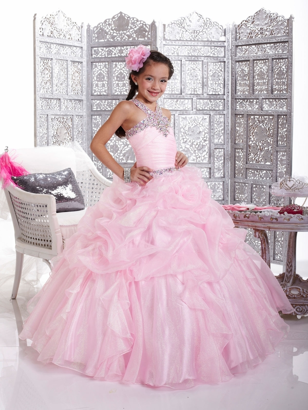 Ball Gown   Flower     Girl     Dresses   With Halter Neck   Flower   Pleated Bodice Pageant   Dresses   Floor-Length Zipper Up