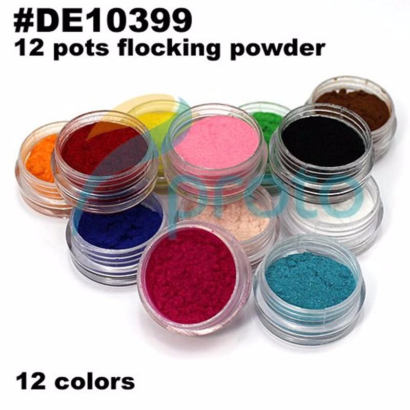 5 компл./лот 12 цвет/набор 3D ногтей флокирование порошок гвозди бархат декорации d0062x