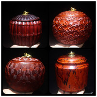 High oil density fine carving Zambian blood sandalwood tea pot mahogany tea set handicraft gifts for own use home