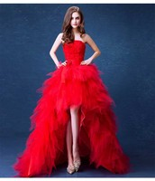 Large Size 5XL Eye Catching Wedding Red Front Short Back Long Dress Red Carpet Strapless Backless Evening Party Dress For Lady