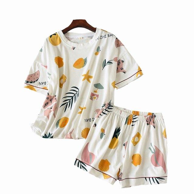 Conjunto de pijamas de verano y primavera para mujer, ropa de cama estampada con bonitos dibujos animados, 2 uds. De manga corta + Pantalones cortos, ropa de hogar de algodón, 2019