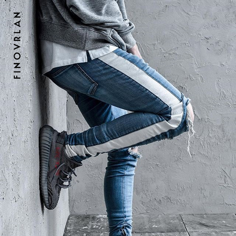 KANYE WEST Knee Hole Side Zipper Slim Distressed Jeans Men Justin Bieber Ripped Tore Up Jeans For Men Stripe Pants Streetwear