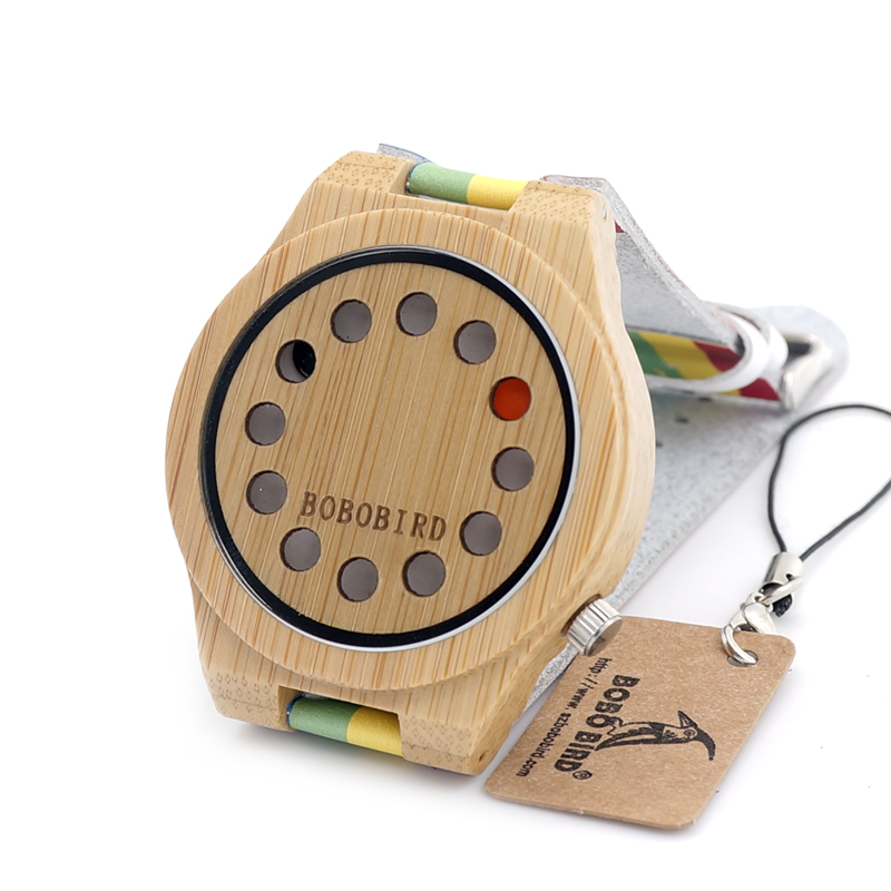 BOBO BIRD LA01 Men Wooden Watch Colorful Leather Strap Quartz Bamboo Watches for Men with Gift Box Drop Shipping недорго, оригинальная цена