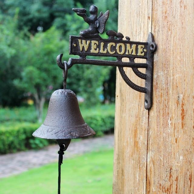 Cast Iron Hanging Angel Welcome Bell Dinner Bells Wall Mount Home Cottage Village Garden Decor Children S Room Decoration Retro