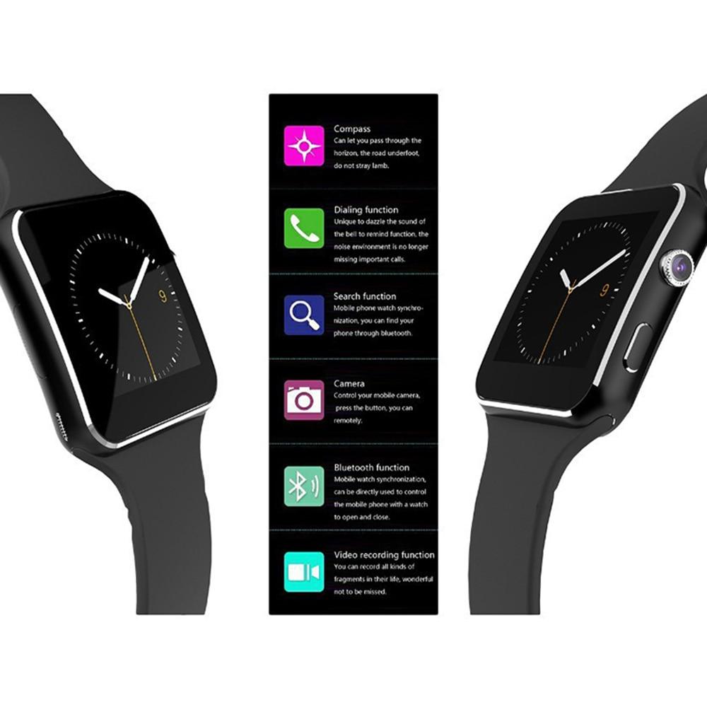 X6 Bluetooth Smart Watch Touch Screen Smart Wristband with Sim Card Slot Camera Controller Bluetooth Smartband