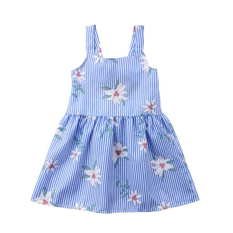 New Kids Blue Striped Summer Dress For Girls Fashion 2018 Toddler Baby Kids Girls Sleeveless Dress Party Floral Printed Dresses