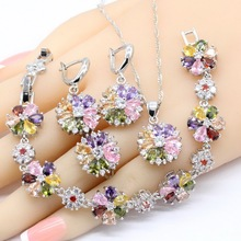 Multicolor Folwer Shape Bracelet Earrings Necklace Pendant Rings 925 Silver Color Jewelry Sets For Women цена 2017