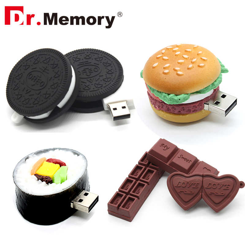 Funny USB Flash Drives 16GB Chocolate Cookies Cute Pendrive 64GB 8GB Memory Stick Pen Drive 32GB I Flash Disk 4GB Storage Device