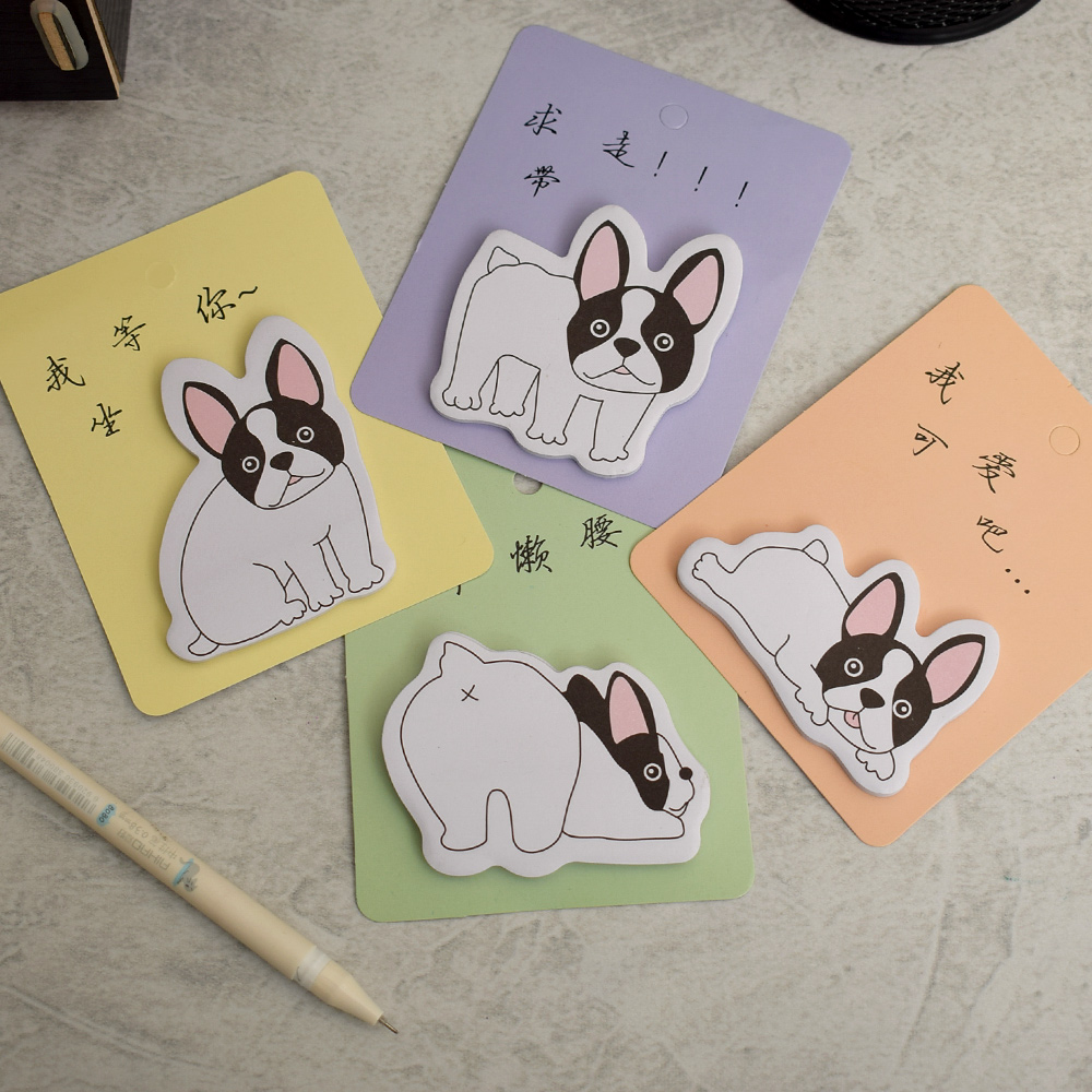 30 Pages Kawaii Naughty Dog Memo Pad Sticky Notes Self-Adhesive Post Bookmark School Office Supply