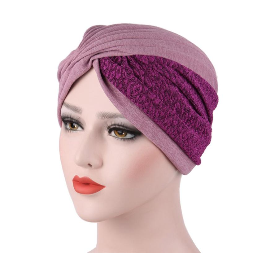 Women New Elastic Cap Turban Muslim India Hat Muslim Ruffle Cancer Chemo Hat Beanie Scarf Turban Head Wrap Cap High Quality viruses cell transformation and cancer 5