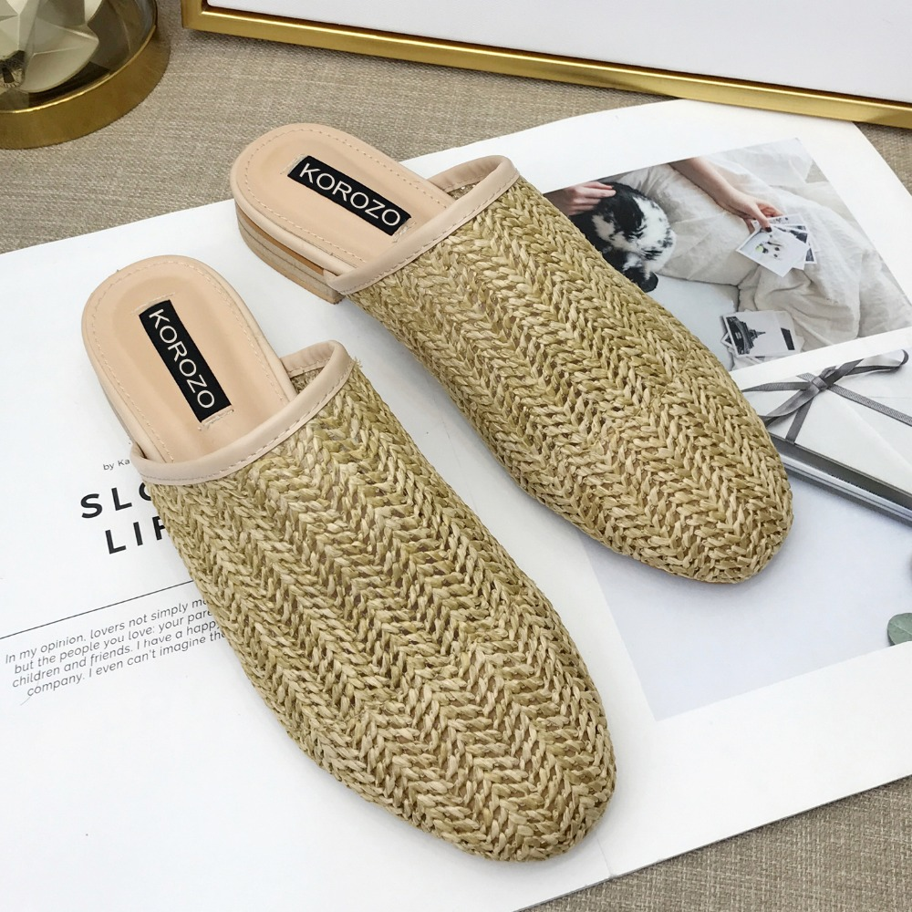 Для женщин тростника ткань Шлёпанцы круглый носок Босоножки на плоской подошве слипоны слайды Летние тапочки Размер 35–40