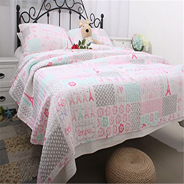 Fadfay Home Textile 100 Cotton Kids Pink Paris Theme Comforter Set