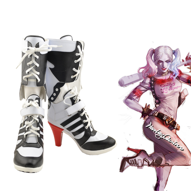 aca741a6d58 Batman Suicide Squad Harley Quinn Movie Halloween Cosplay Costumes Shoes  Boots High Heels Custom Made For Adult Women