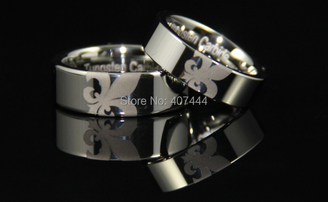 Free Shipping YGK JEWELRY Hot Sales 6MM/8MM Silver Pipe Fleur De Lis Ring Men's Fashion Tungsten Wedding Rings