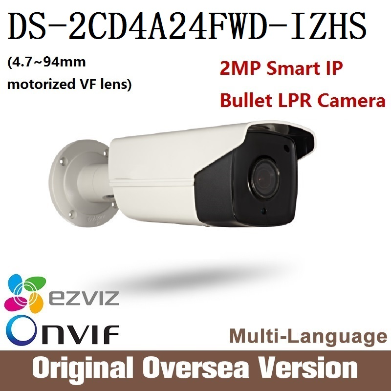 HIKVISION DS-2CD4A24FWD-IZHS Original English version 2MP IP LPR camera CCTV camera security camera HD POE IP67 bullet Onvif P2P hikvision ds 2ae5123t a original english version 2mp ptz ip camera cctv security camera surveillance poe onvif 4k hd network