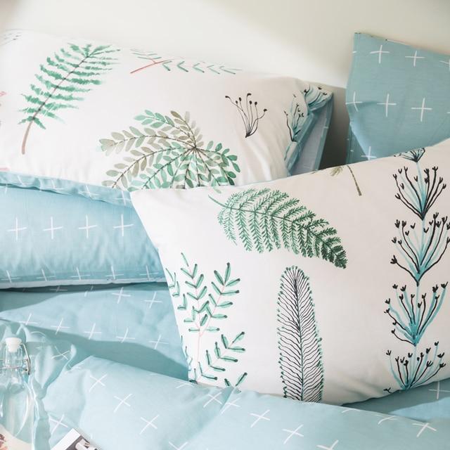 Svetanya Leaves Print Sheet Pillowcase and Duvet Cover Sets 100% Cotton Bedlinen Twin Double Queen King Size Bedding Set 3