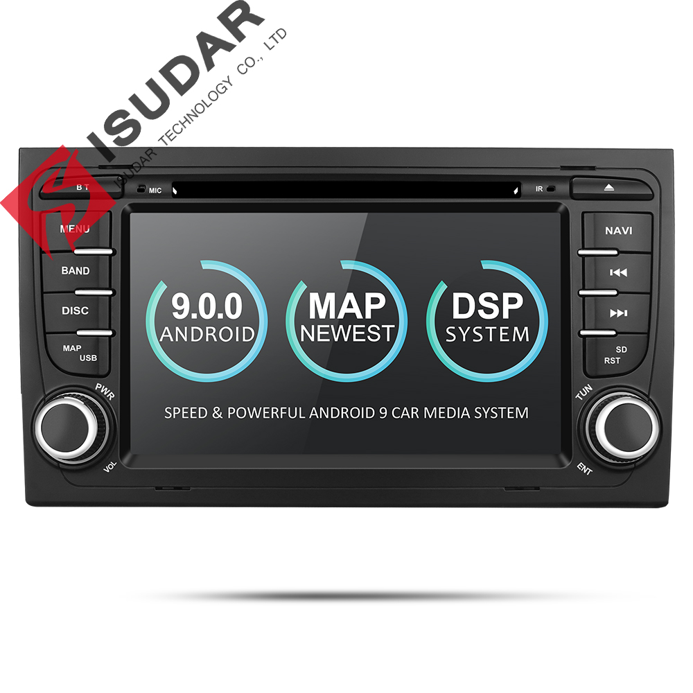 Isudar 2 Din Car Multimedia Player GPS Android 9 DVD Automotivo For Audi/A4/S4 2002-2008 Radio Quad Cores RAM 2GB ROM 16GB DSP