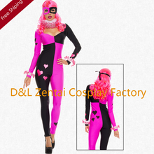 Free Shipping DHL Funny Women's Heart Striking Harley Quinn Sexy Superhero Cosplay Spandex 2016 Halloween Costumes  HQ1209