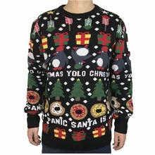 재미 있은 니트 펭귄 도넛 남자와 여자를위한 추악한 크리스마스 스웨터 귀여운 남자 니트 추악한 크리스마스 풀오버 점퍼 대형 S XL