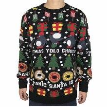 Śmieszne dzianiny pingwin pączki brzydki świąteczny sweter dla mężczyzn i kobiet śliczne męskie dzianiny brzydkie Xmas sweter Jumper ponadgabarytowych S XL