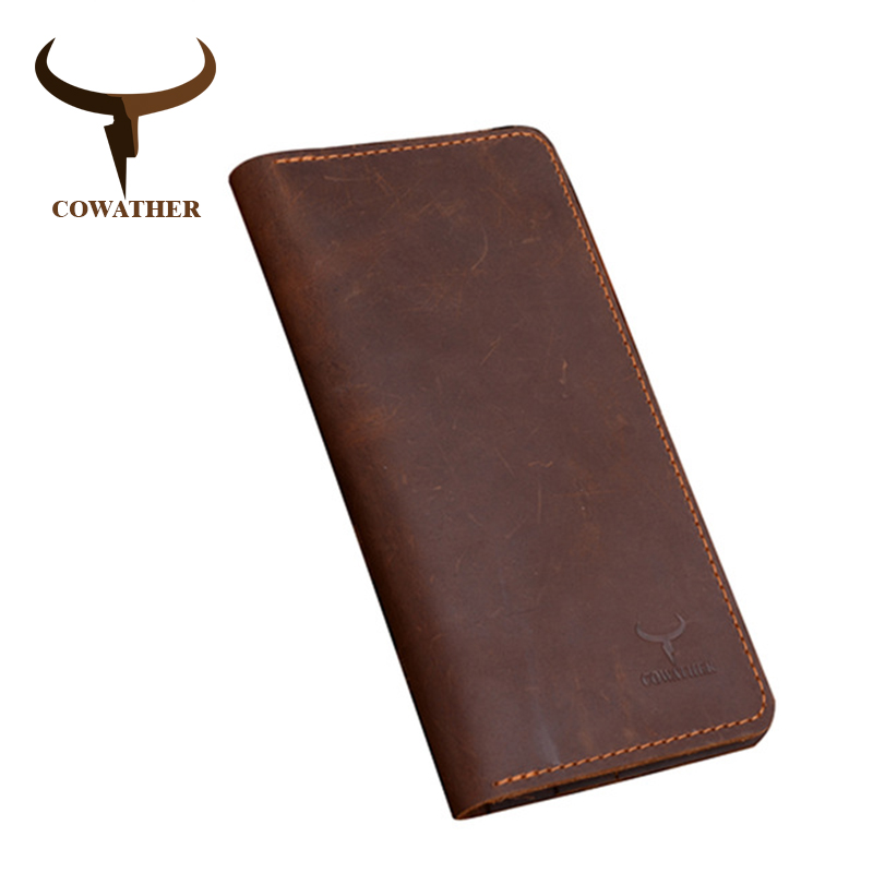 COWATHER High Quality Cow Genuine Crazy Horse Leather Men Wallets 2019 Long Style Two Color Fashion Male Purse 103 Free Shipping