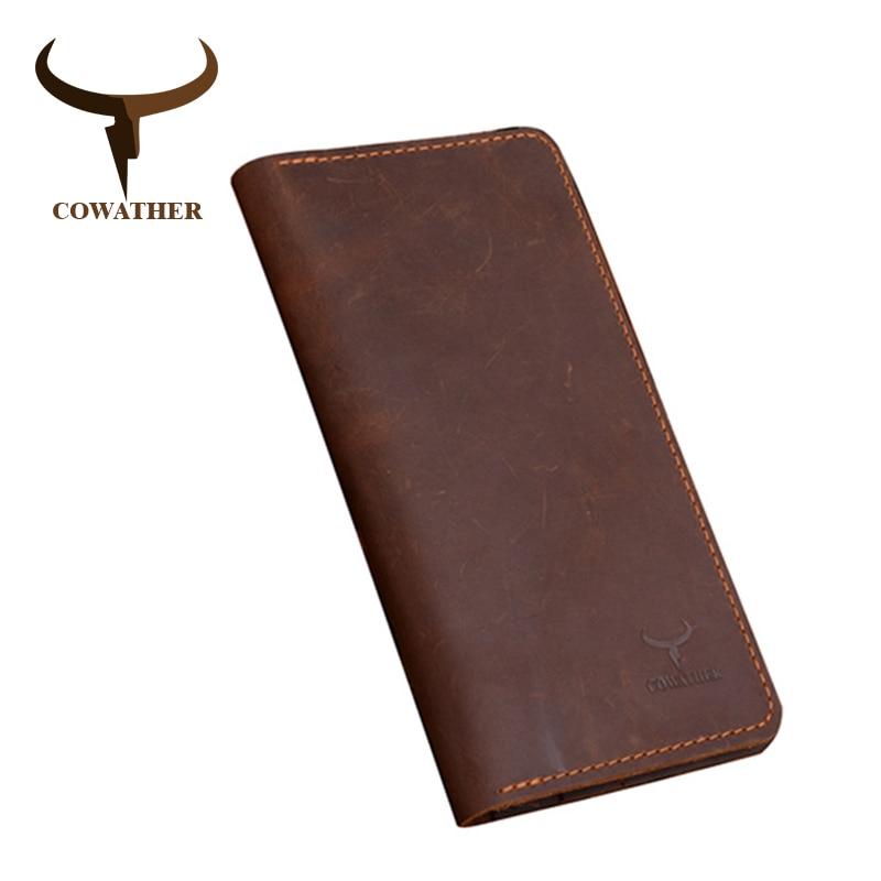 COWATHER פרה באיכות גבוהה אמיתי משוגע סוס עור גברים ארנקים 2019 סגנון ארוך שני צבע אופנה זכר ארנק 103 משלוח חינם