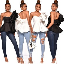 2019 Women One Shoulder Zipper Up Party Tops Long Sleeve White Black Sexy Blouse Solid Ruffles Summer Shirts