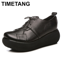 TIMETANG Women Genuine Leather Shoes Spring 2018 Casual Shoes Lace Up 6CM High Heels Wedge Shoes Rero Handmade Women Pumps