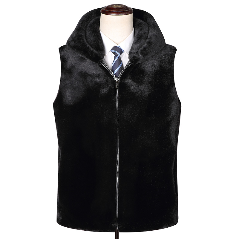 Q2 New Fashion Autumn and Winter Men;s Clothing Cashmere Waistcoat Male Fur Coat 10% Mink Fur Vest Hooded Jacket