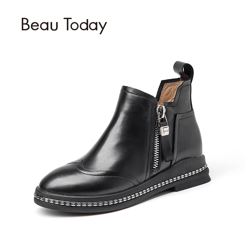 ФОТО Beau Today Brand Zipper Fashion Chelsea Boots Women's Fashion Ankle Boots Black Brown Genuine Leather Casual Boots Top Quality
