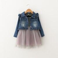Baby Girls Clothing Set Blue Denim Jacket Striped Dress 2 Pcs Outfits For Children Kids Spring