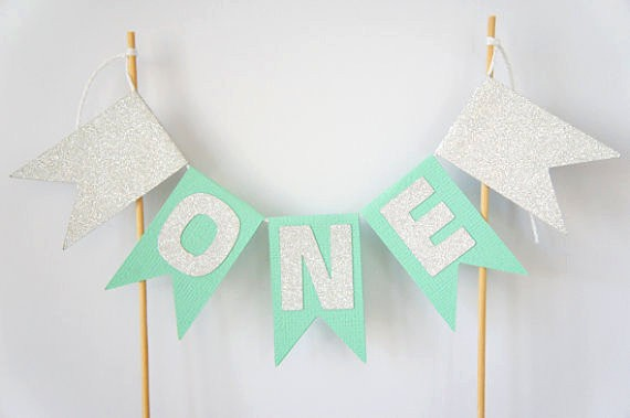 Hot Kids 1st Birthday Party Cake Bunting Mint Silver ONE Banner Age Number Baby Shower Smash Decor