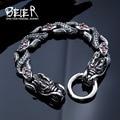Beier 316L Stainless Steel bracelet punk skull Bracelet For Vintage Cool Dragon Style Men's Bracelet Jewelry BC8-035
