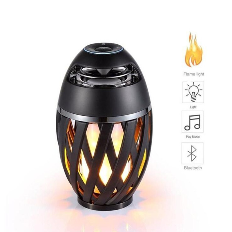 Bluetooth Speaker USB Led Flame Lights Outdoor Portable Led Flame Atmosphere Lamp Stereo Speaker Outdoor Camping Woofer Mini