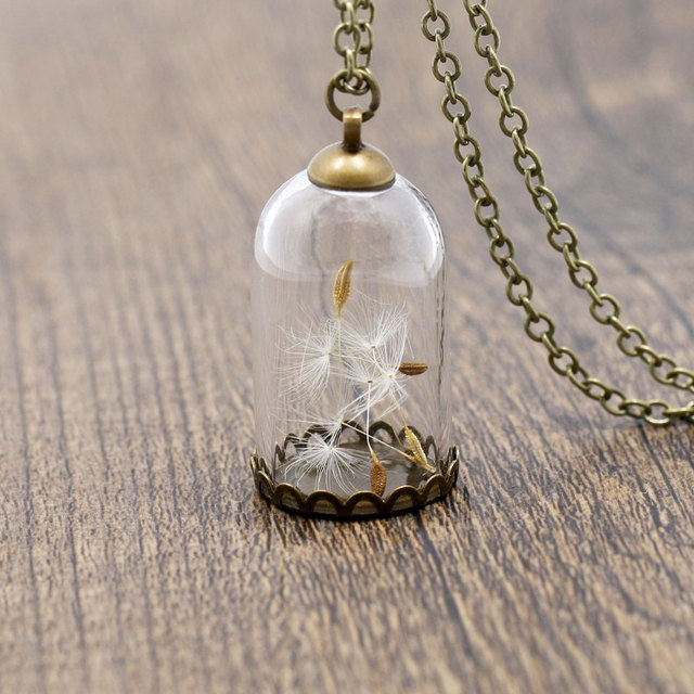 Ningxiang fashion ladies creative gift wishes bottle necklace ningxiang fashion ladies creative gift wishes bottle necklace pendant glass dome cover dandelion necklaces jewelry for aloadofball Gallery
