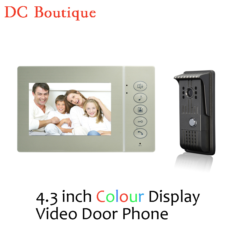 (1 set) Home Intercom System One to One 4.3 inch display Doorphone Video intercom Night version Doorbell Talkback Door access 7 inch video doorbell tft lcd hd screen wired video doorphone for villa one monitor with one metal outdoor unit night vision