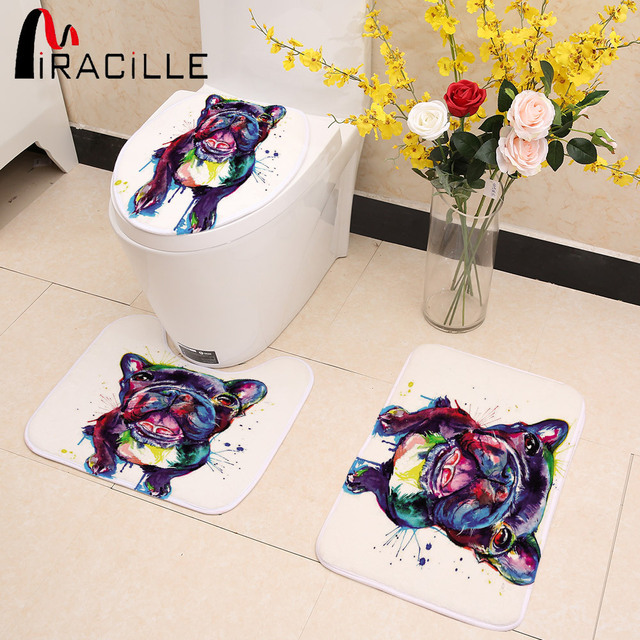 Miracille Colorful Pug French Bulldog Print 3pcs/Set Winter Toilet Seat Covers Soft Warmer Washable Bathroom Non Slip Area Rug