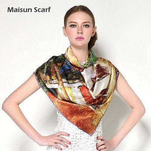 Fashion style printed women satin silk square shawl 110cm plus size scarf