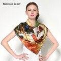 Moda estilo impreso mujeres satén de seda cuadrados 110 cm bufanda más tamaño