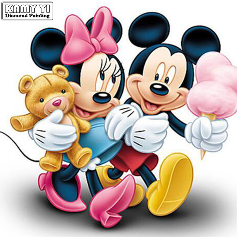 5D DIY Mickey Mouse Diamond Painting Cartoon Full Round Diamond Embroidery of Rhinestones Diamond Mosaic Picture By Number XY25(China)