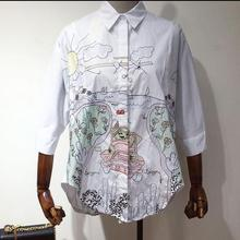 New spring summer and autumn women loose white shirt embroidered long blouse cartoon graffiti fashion tops D1347